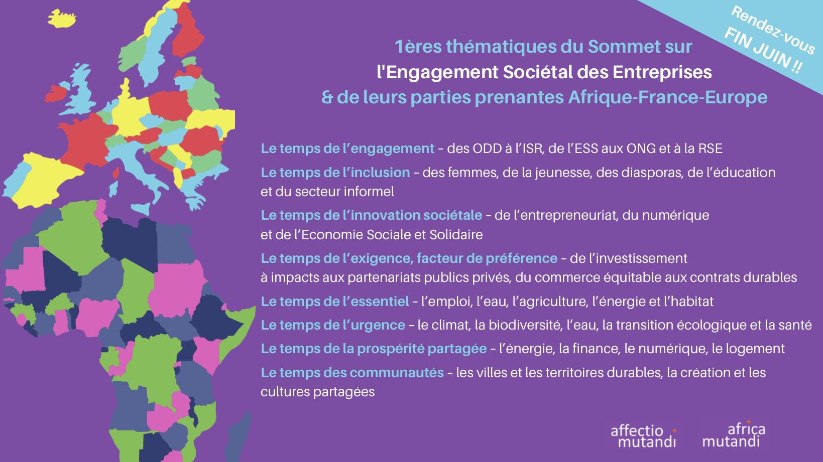 Sommet sur l'Engagement Sociétal des Entreprises entre l'Afrique, la France et l'Europe: les pré-inscriptions sont ouvertes!!!