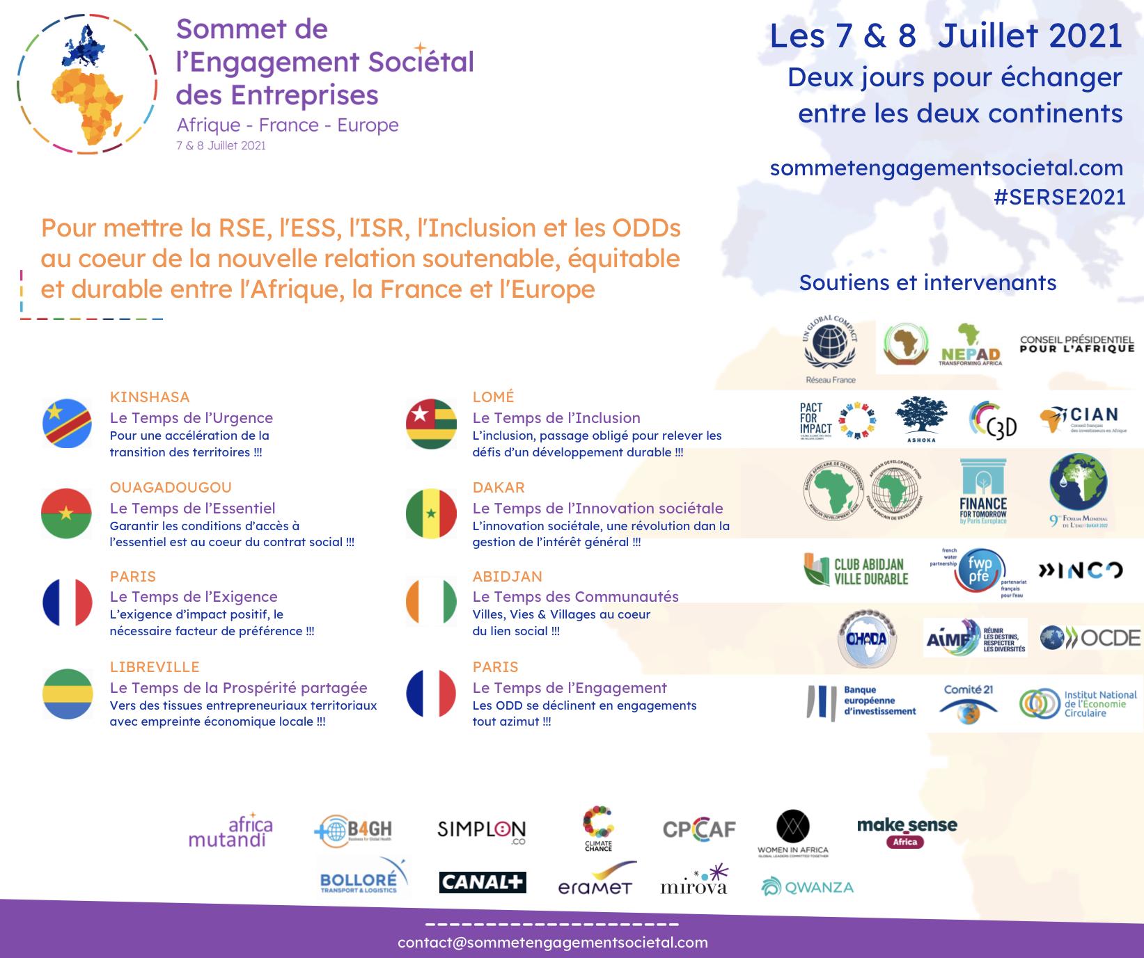 Le 1er Sommet sur l'Engagement Sociétal des Entreprises entre l'Afrique, la France & l'Europe se tiendra les 7 & 8 juillet depuis six capitales africaines & Paris