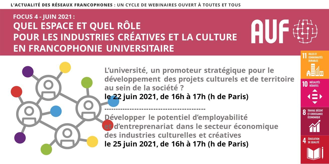 """Webinaires """"Quel espace et quel rôle pour les industries créatives et la culture en Francophonie universitaire ?"""""""
