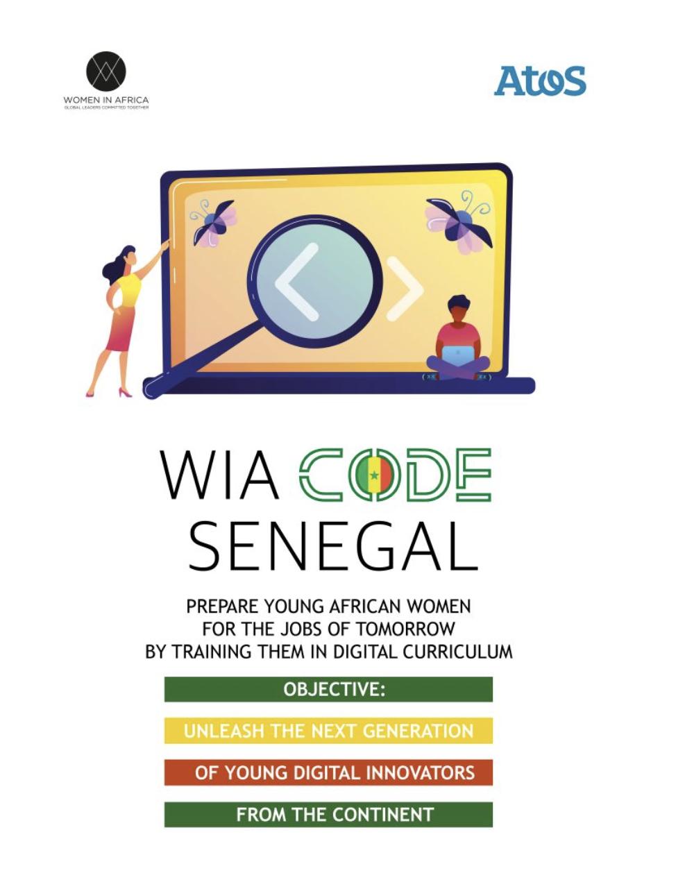 Women in Africa poursuit l'aventure du code à la Maison d'Éducation Mariama Bâ, au Sénégal à travers le programme WIA Code avec Atos afin de préparer les jeunes filles d'Afrique aux métiers de demain