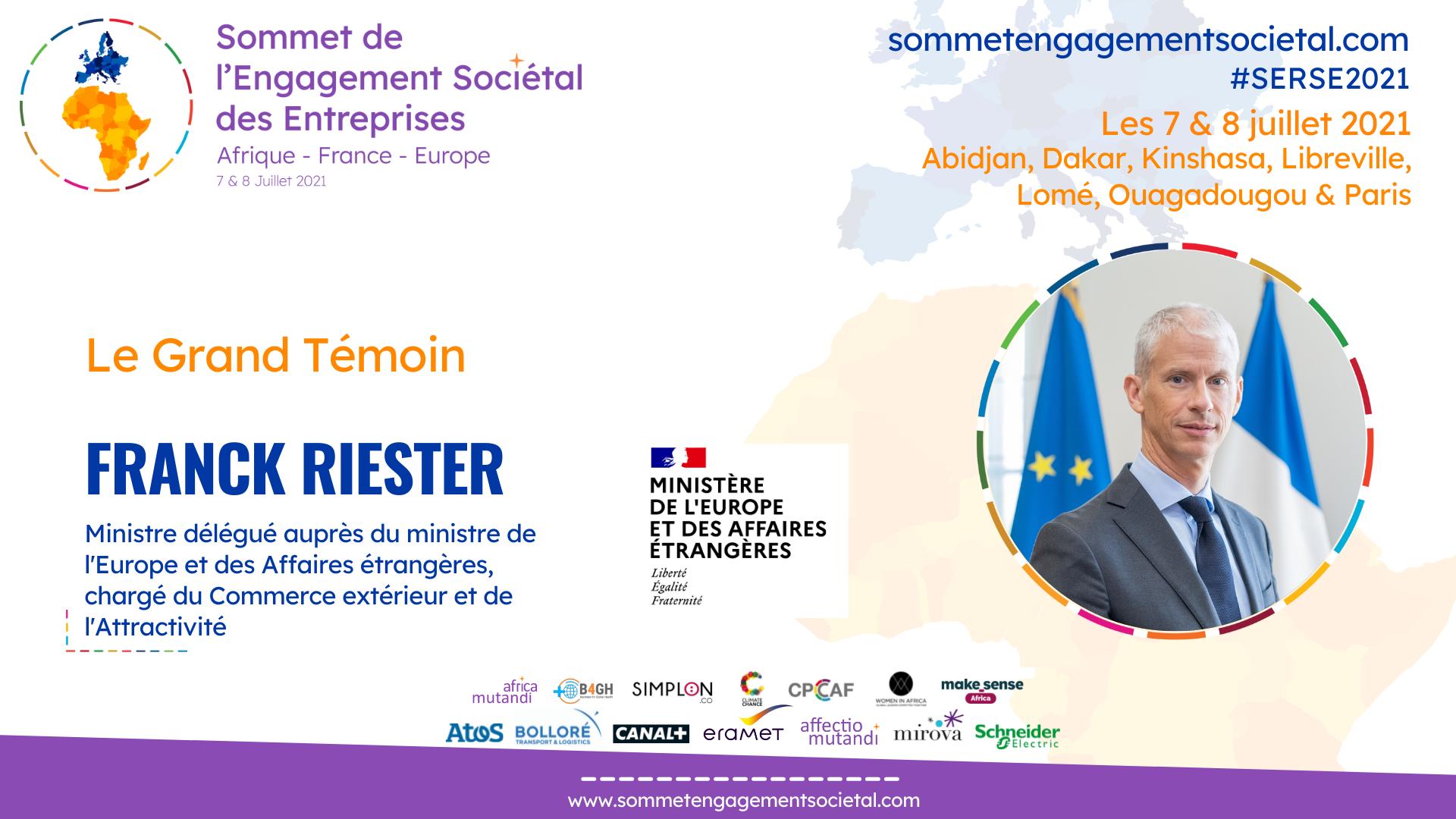 Franck Riester, Grand Témoin du Sommet de l'Engagement Sociétal