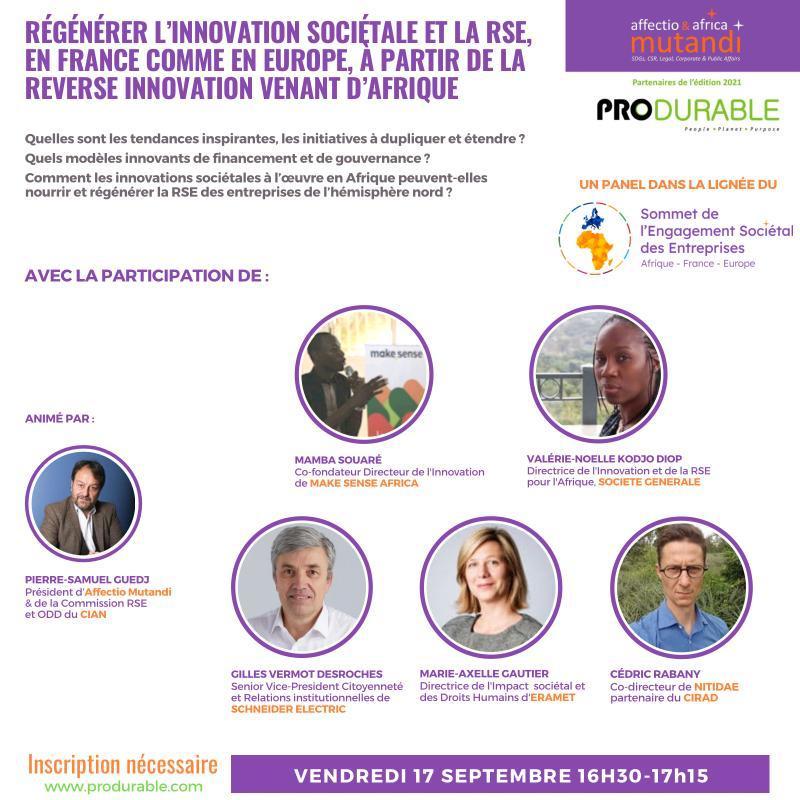Société Générale, makesense Africa, Eramet & Schneider viennent parler innovation sociétale en Afrique lors de Produrable